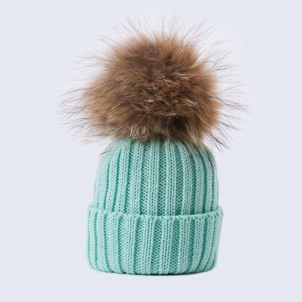Tiny Tots Merino Wool Fur Pom Pom Hat Mermaid Spell