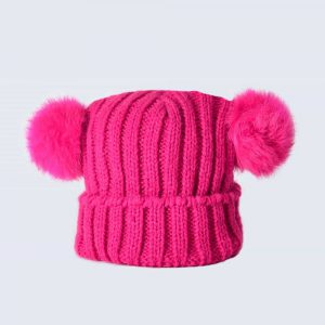 Tiny Tots Fuchsia Double Pom Pom Hat