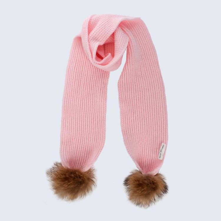 Tiny Tots Candy Pink Scarf with Brown Fur Pom Poms