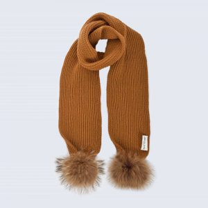 Tiny Tots Caramel Scarf with Brown Fur Pom Poms
