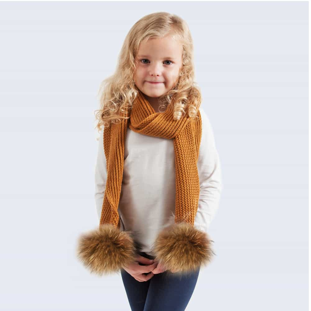 Tiny Tots Caramel Scarf with Brown Faux Fur Pom Poms