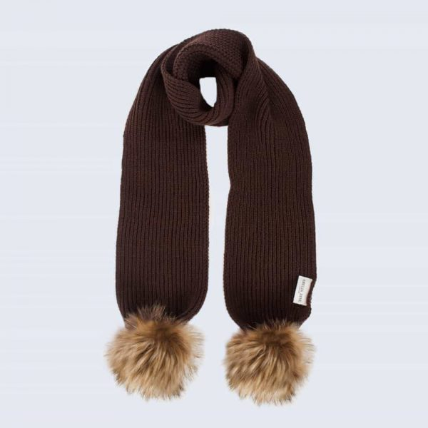 Tiny Tots Chocolate Scarf with Brown Faux Fur Pom Poms