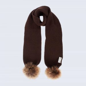 Tiny Tots chocolate Scarf with Brown Fur Pom Poms