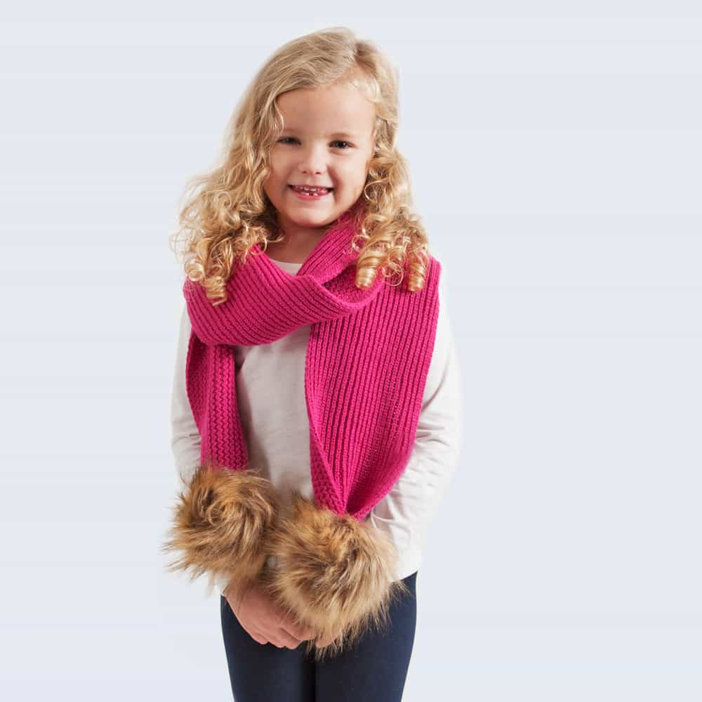 Tiny Tots Fuchsia Scarf with Brown Faux Fur Pom Poms