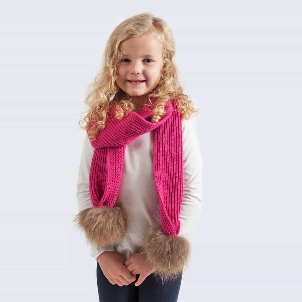 Tiny Tots Fuchsia Scarf with Brown Fur Pom Poms