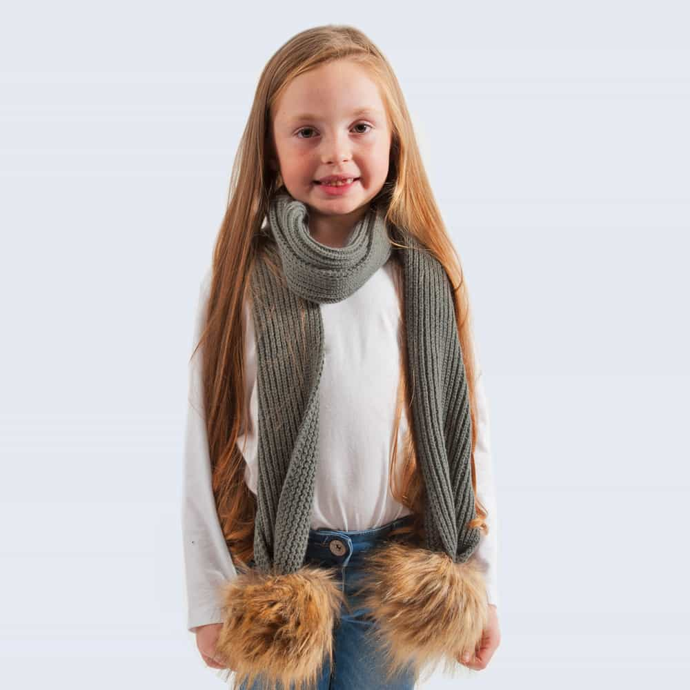 Tiny Tots Grey Scarf with Brown Faux Fur Pom Poms