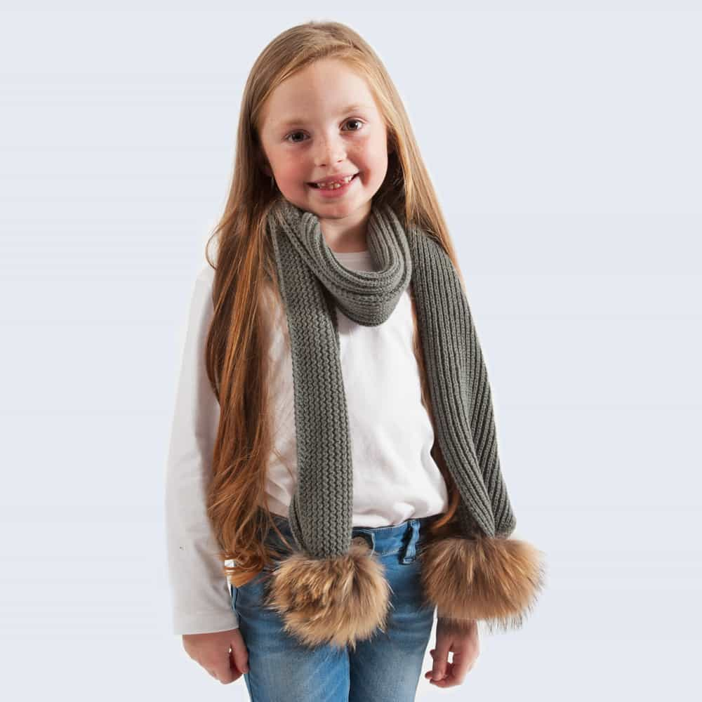 Tiny Tots Grey Scarf with Brown Fur Pom Poms