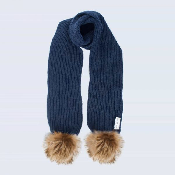 Tiny Tots Navy Scarf with Brown Faux Fur Pom Poms