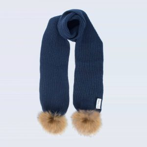Tiny Tots Navy Scarf with Brown Fur Pom Poms