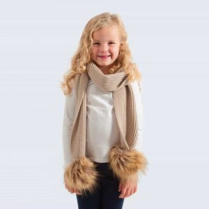 Tiny Tots Oatmeal Scarf with Brown Faux Fur Pom Poms