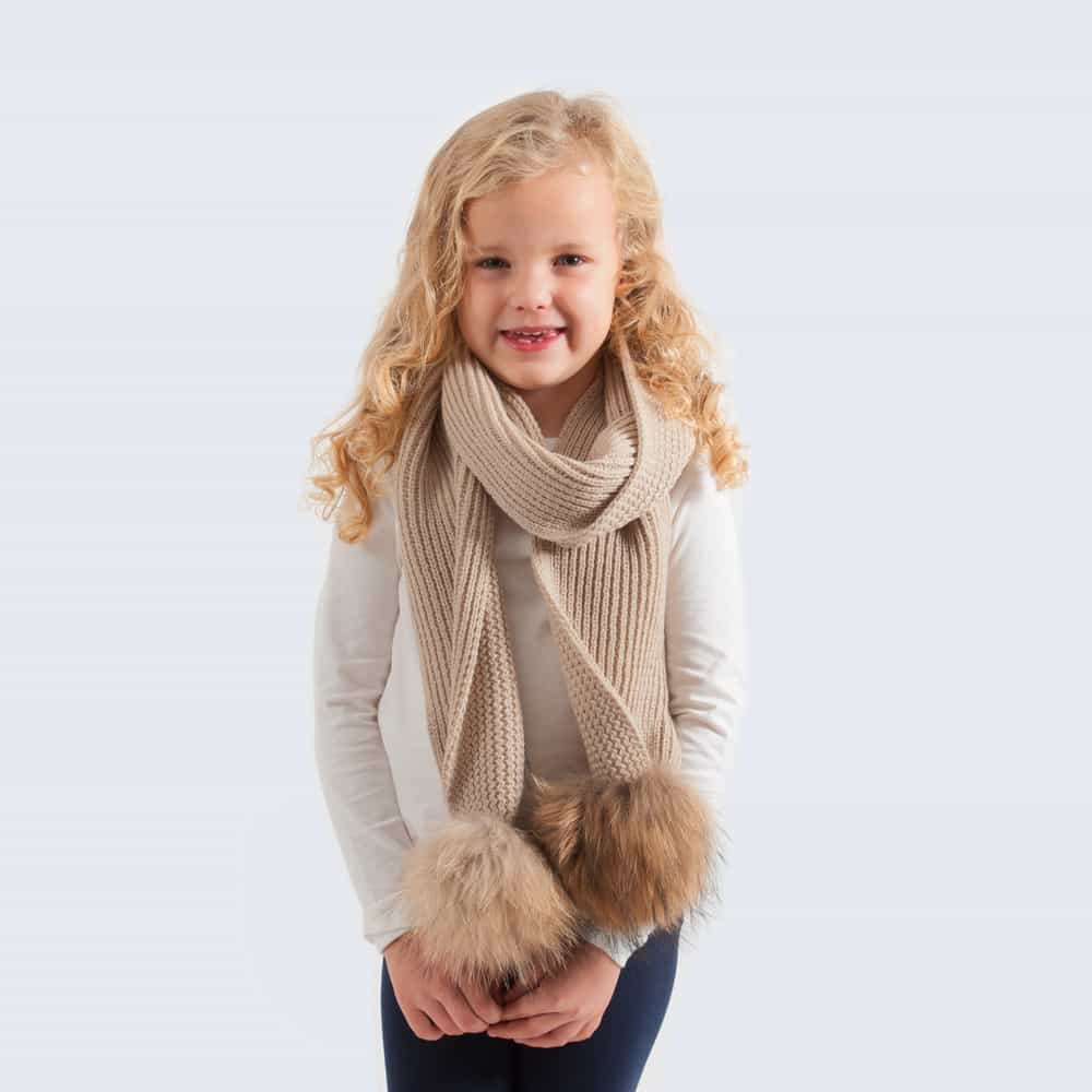 Tiny Tots Oatmeal Scarf with Brown Fur Pom Poms