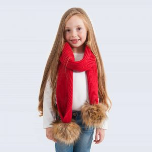 Tiny Tots Scarlet Scarf with Brown Faux Fur Pom Poms