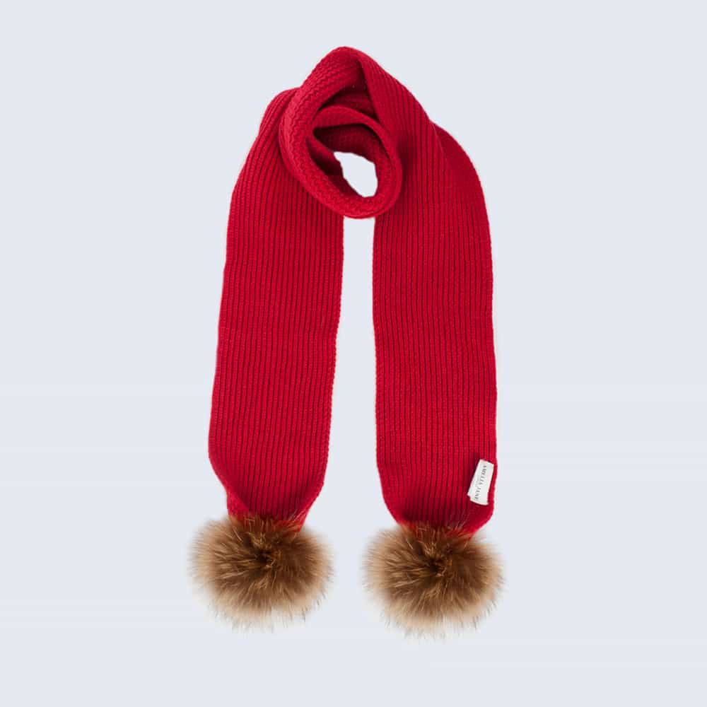 Tiny Tots Scarlet Scarf with Brown Fur Pom Poms