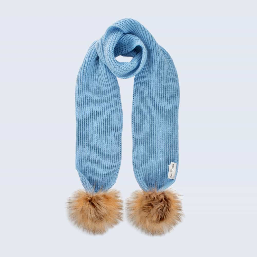 Tiny Tots Sky Blue Scarf with Brown Faux Fur Pom Poms