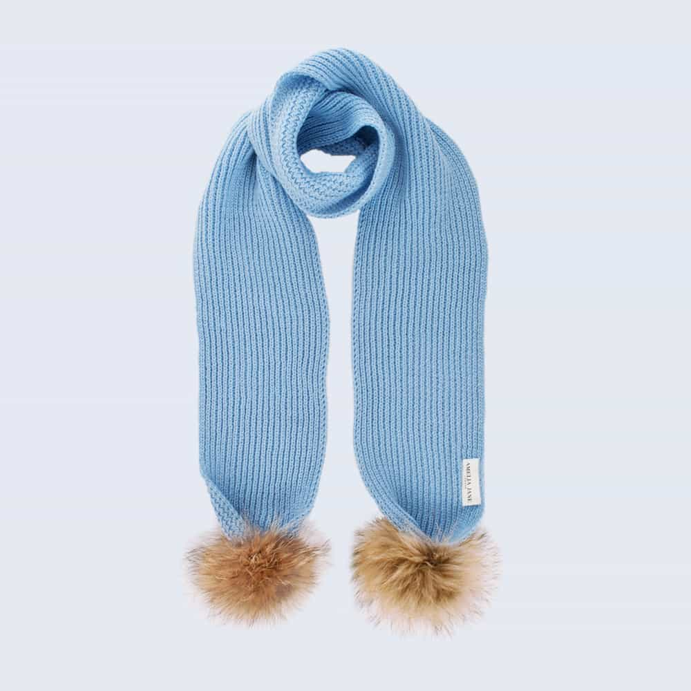 Tiny Tots Sky Blue Scarf with Brown Fur Pom Poms