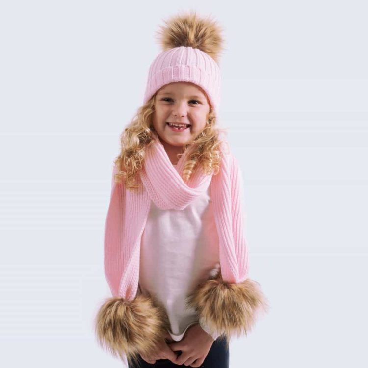 Tiny Tots Candy Pink Set with Faux Brown Fur Pom Poms