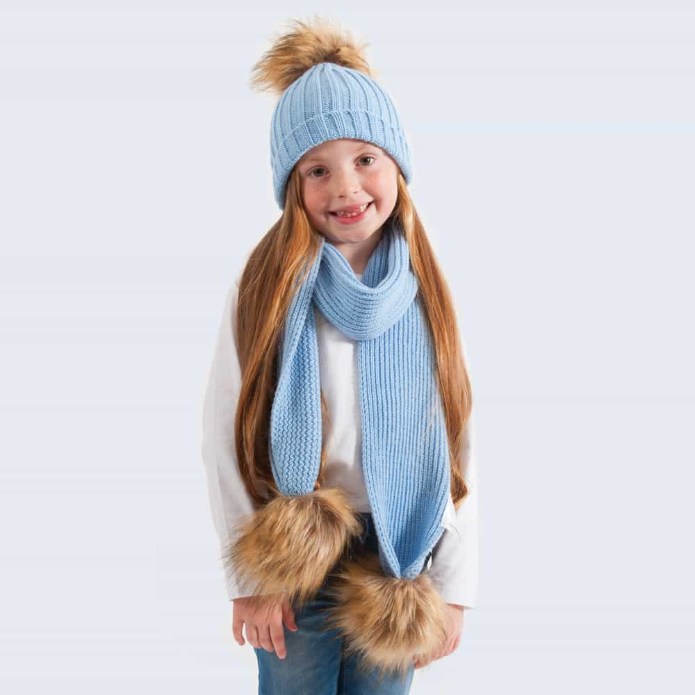 Tiny Tots Sky Blue Set with Faux Brown Fur Pom Poms