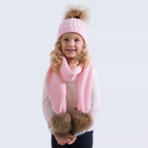 Tiny Tots Candy Pink Set with Brown Fur Pom Poms