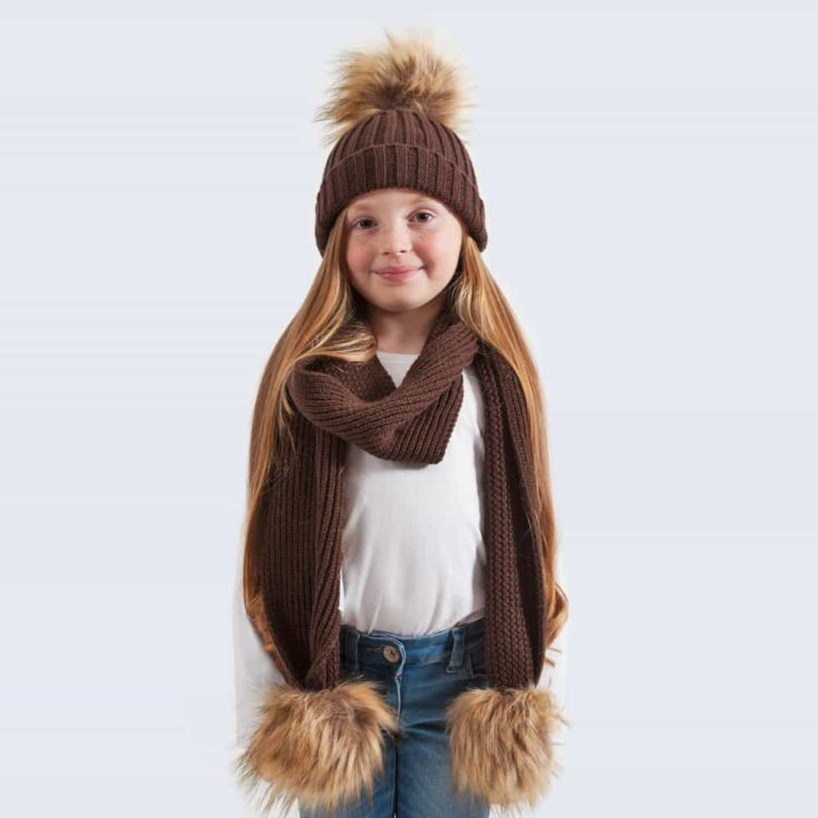 Tiny Tots Chocolate Set with Faux Brown Fur Pom Poms