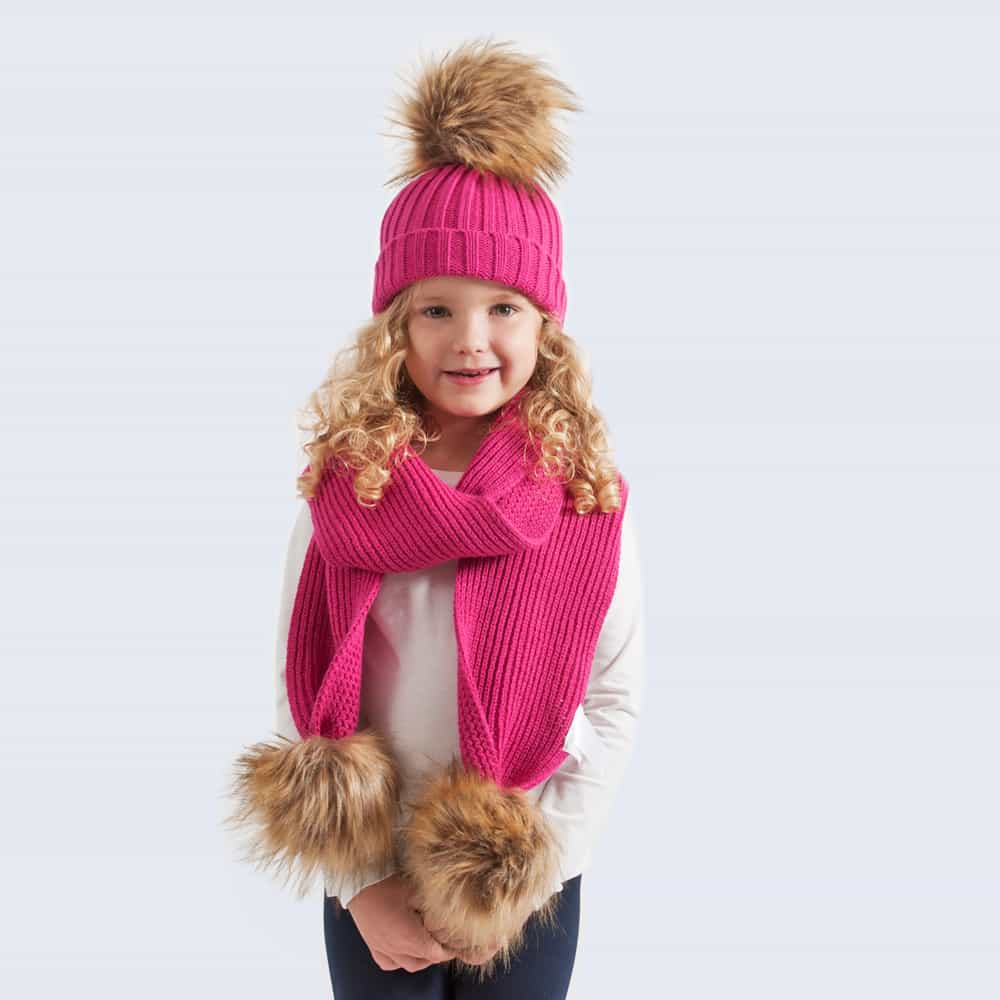 Tiny Tots Fuchsia Set with Faux Brown Fur Pom Poms