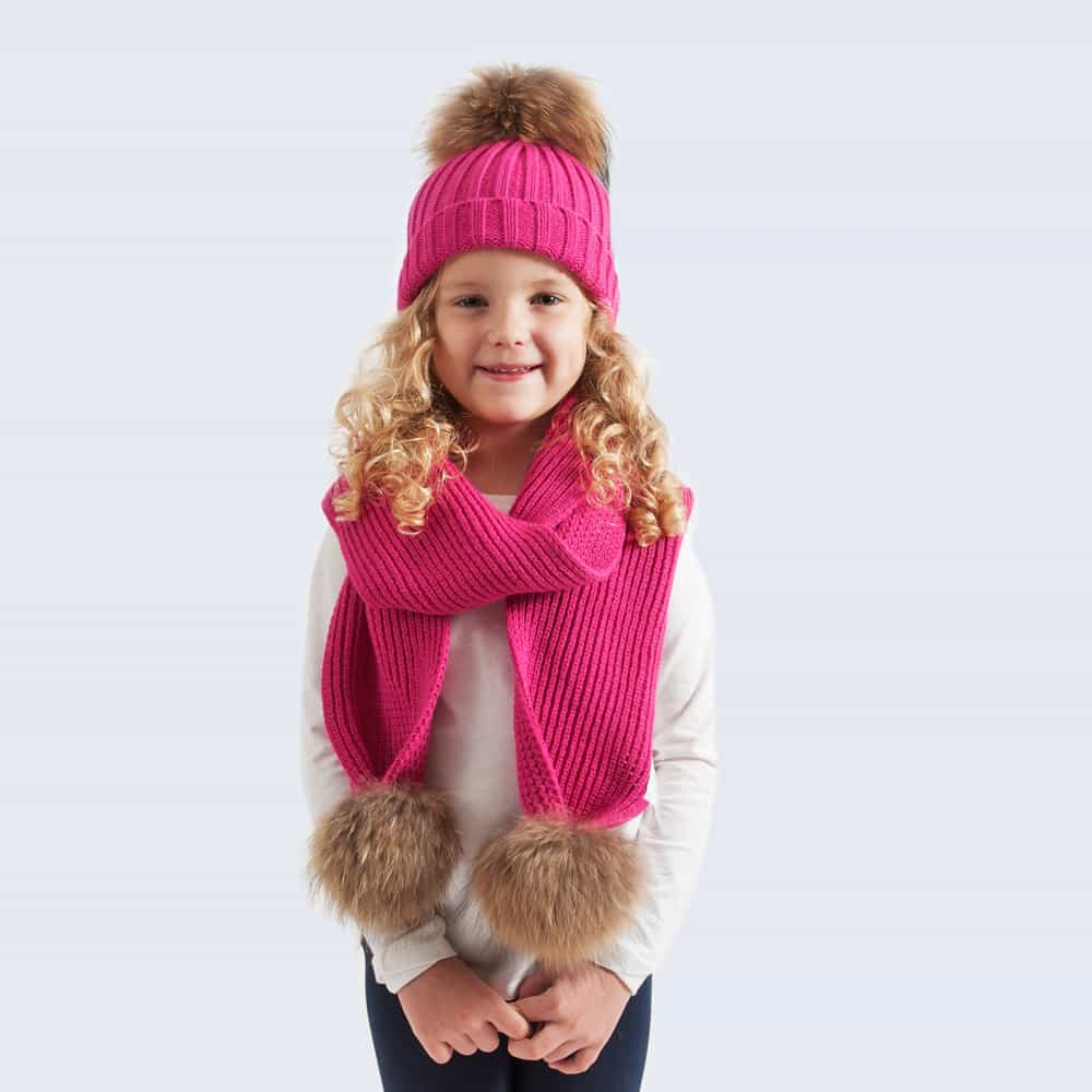 Tiny Tots Fuchsia Set with Brown Fur Pom Poms
