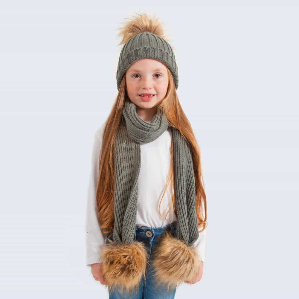 Tiny Tots Grey Set with Faux Brown Fur Pom Poms