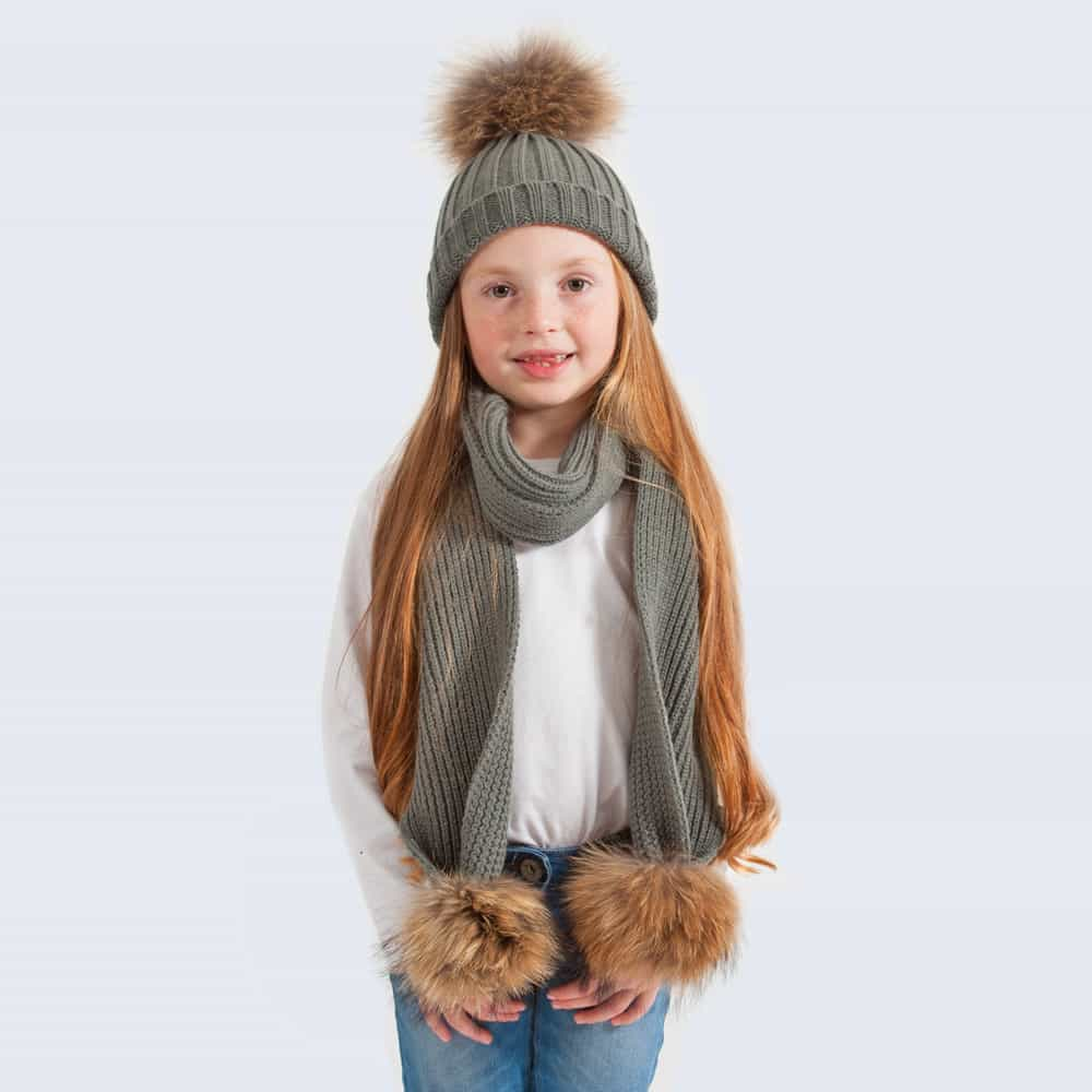 Tiny Tots Grey Set with Brown Fur Pom Poms