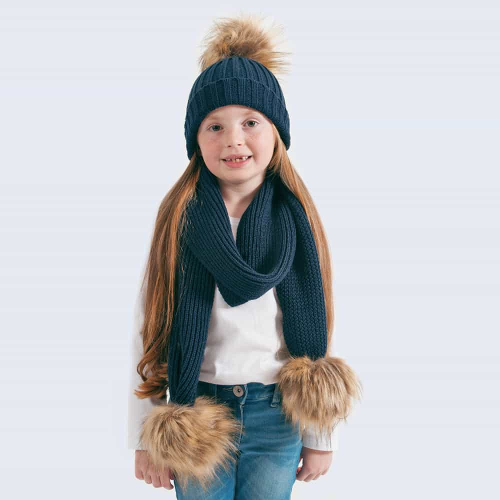 Tiny Tots Navy Set with Faux Brown Fur Pom Poms