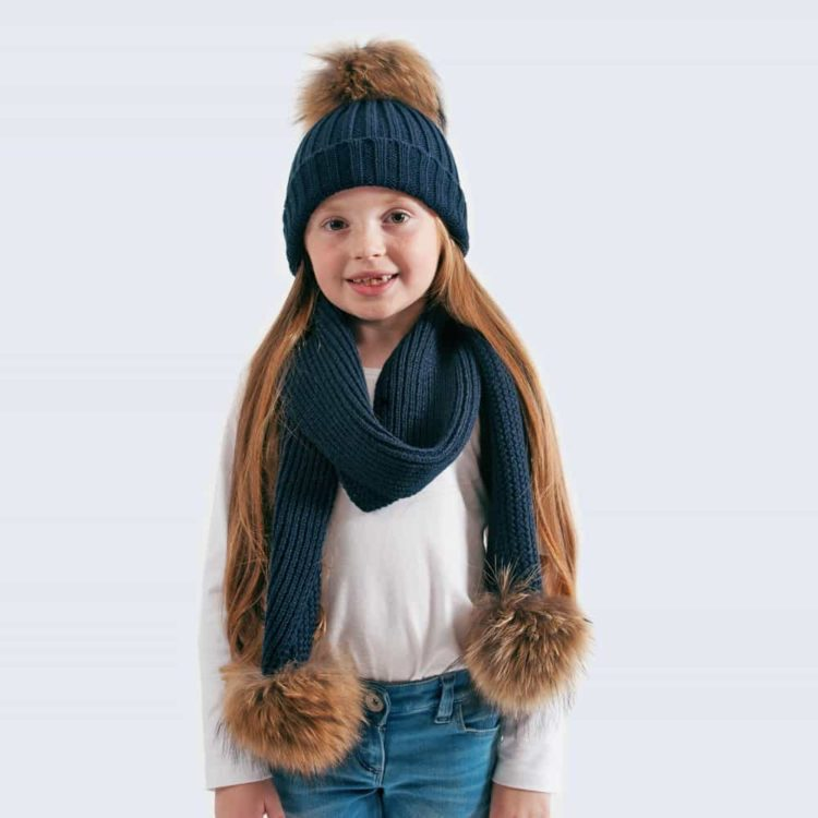 Tiny Tots Navy Set with Brown Fur Pom Poms