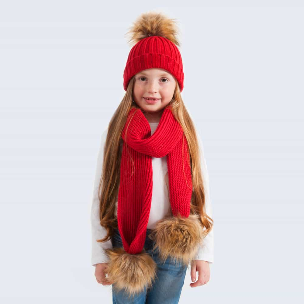 Tiny Tots Scarlet Set with Faux Brown Fur Pom Poms
