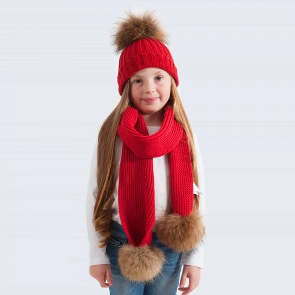 Tiny Tots Scarlet Set with Brown Fur Pom Poms
