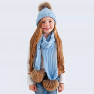 Tiny Tots Sky Blue Set with Brown Fur Pom Poms