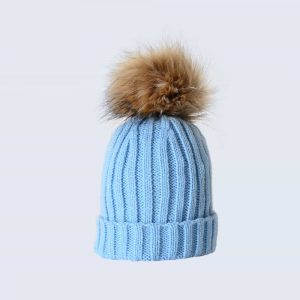 Sky Blue Tiny Tots Hat with Brown Faux Fur Pom Pom