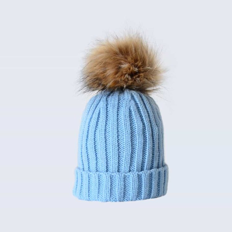 Sky Blue Tiny Tots Hat with Brown Faux Fur Pom Pom