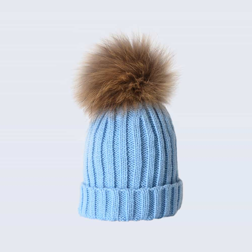 Sky Blue Tiny Tots Hat with Brown Fur Pom Pom