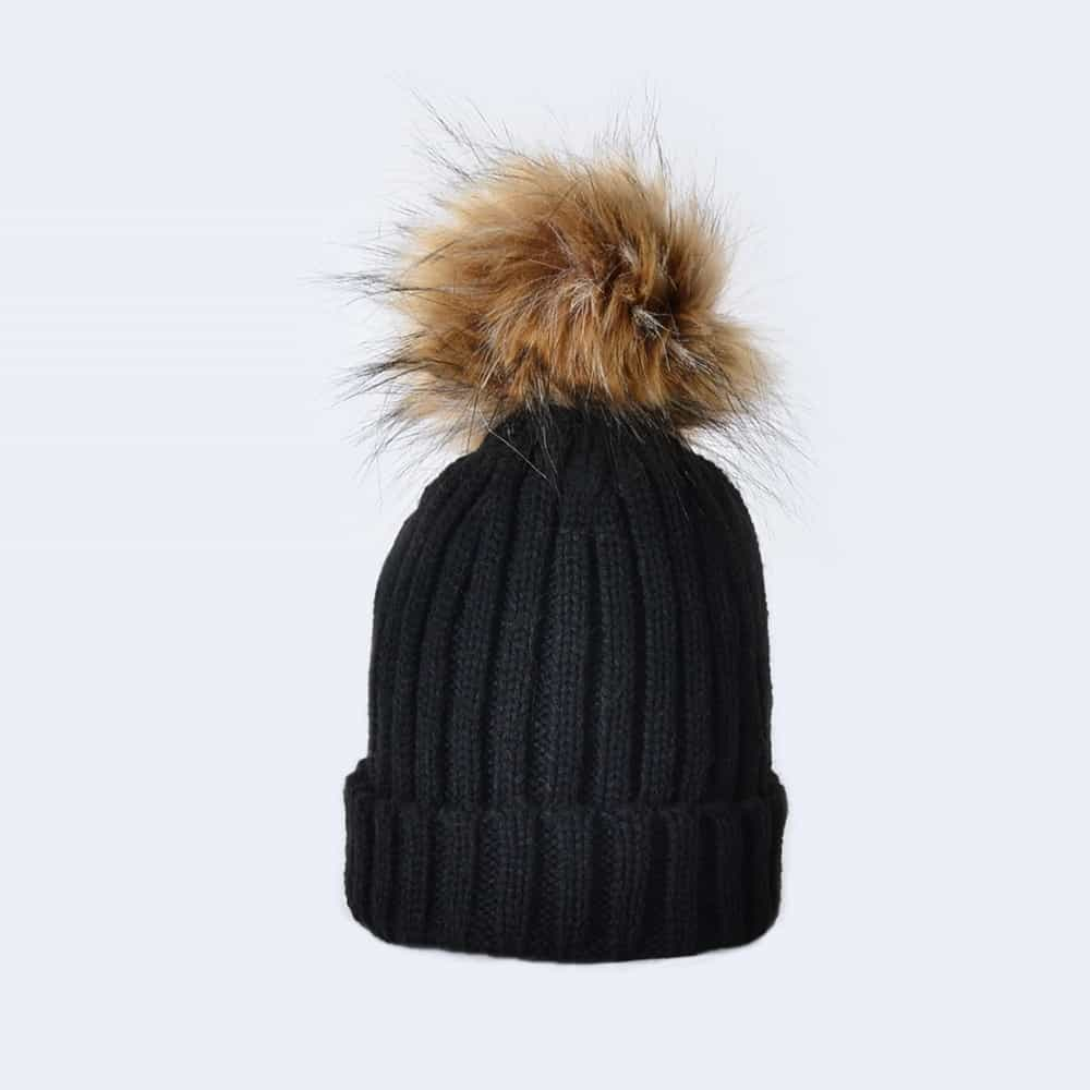 Black Tiny Tots Hat with Brown Faux Fur Pom Pom