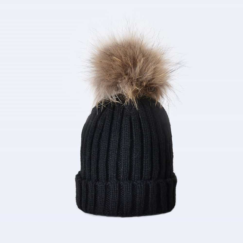 Black Tiny Tots Hat with Brown Fur Pom Pom