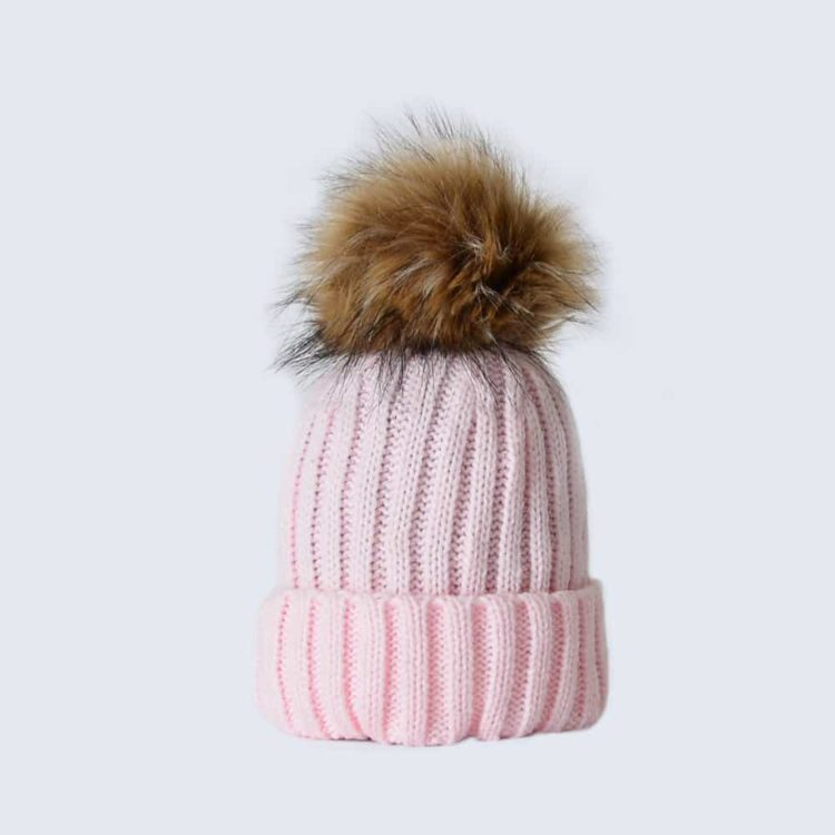 Candy Pink Tiny Tots Hat with Brown Faux Fur Pom Pom