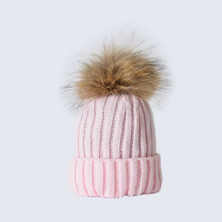 Candy Pink Tiny Tots Hat with Brown Fur Pom Pom