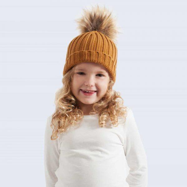 Caramel Tiny Tots Hat with Brown Faux Fur Pom Pom