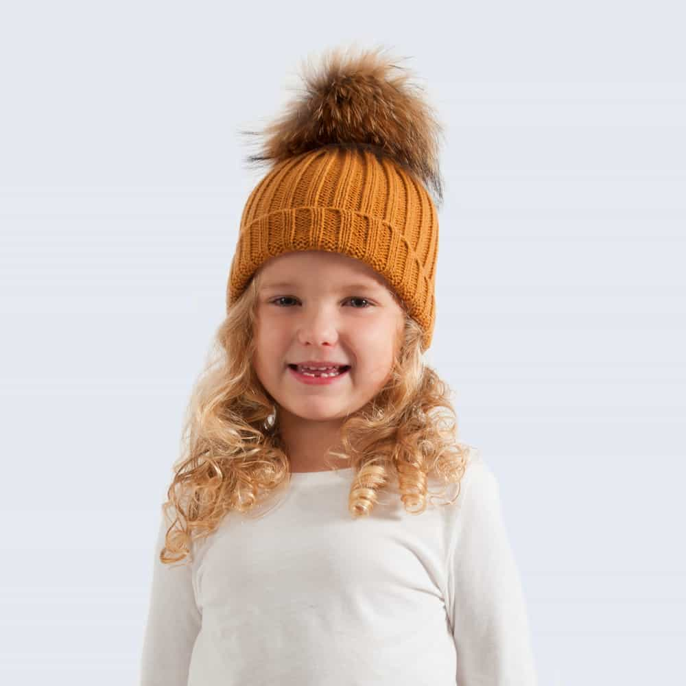 Caramel Tiny Tots Hat with Brown Fur Pom Pom
