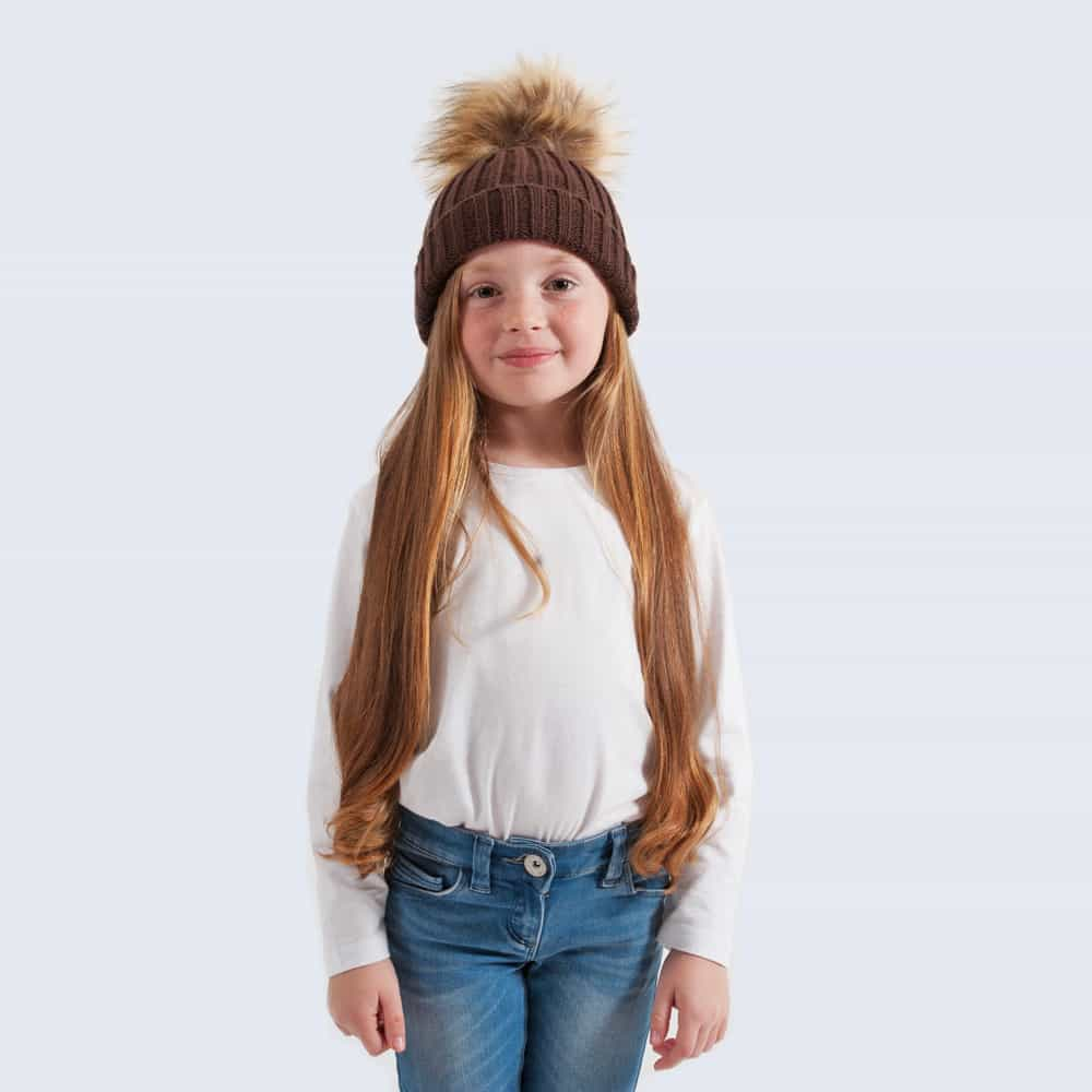 Chocolate Tiny Tots Hat with Brown Faux Fur Pom Pom