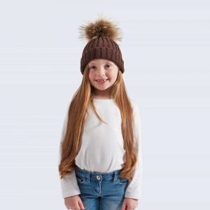 Chocolate Tiny Tots Hat with Brown Fur Pom Pom