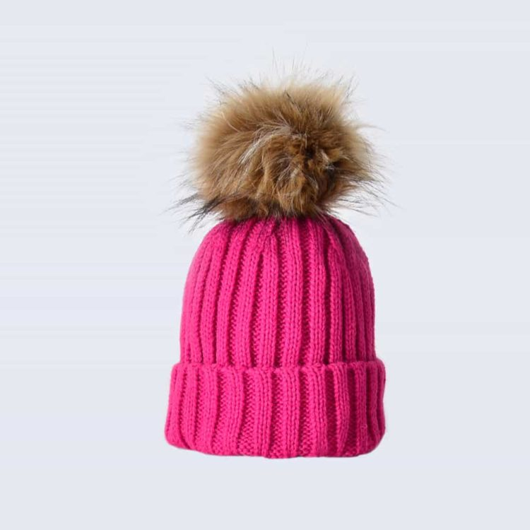 Fuchsia Tiny Tots Hat with Brown Faux Fur Pom Pom