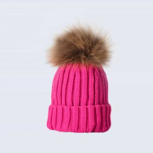 Fuchsia Tiny Tots Hat with Brown Fur Pom Pom