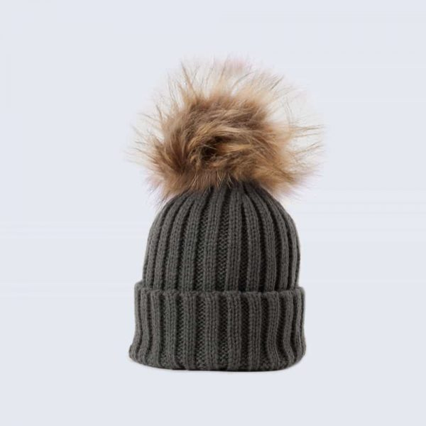 Grey Tiny Tots Hat with Brown Faux Fur Pom Pom