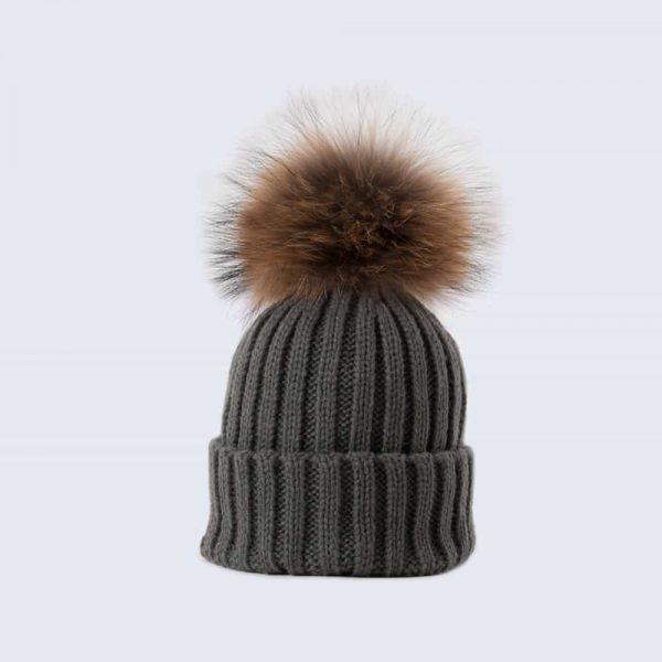 Grey Tiny Tots Hat with Brown Fur Pom Pom