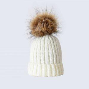 Ivory Tiny Tots Hat with Brown Faux Fur Pom Pom