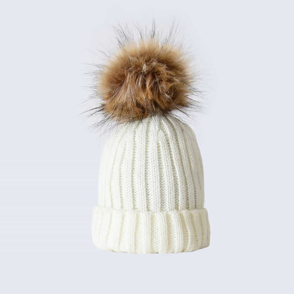 Ivory Tiny Tots Hat with Brown Faux Fur Pom Pom