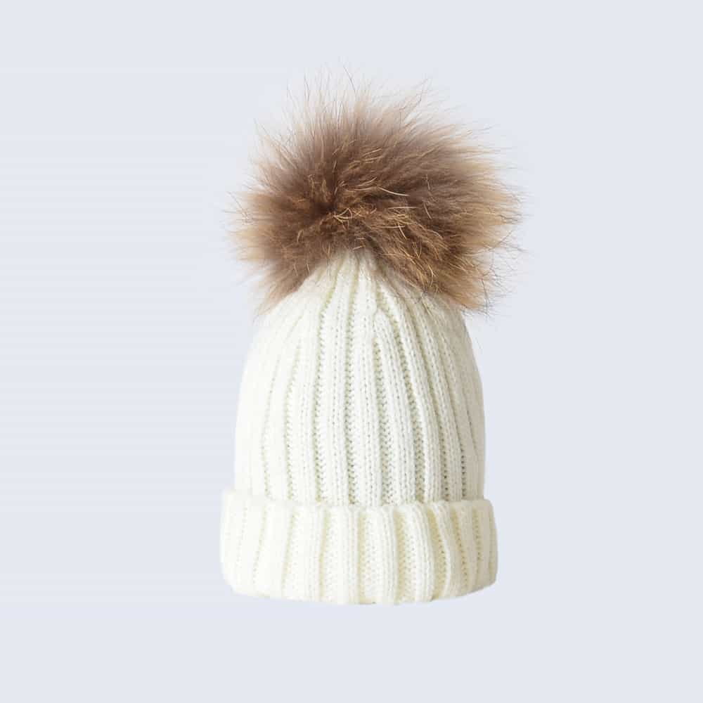 Ivory Tiny Tots Hat with Brown Fur Pom Pom